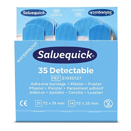 Salvequick Blue Detectable Plaster Pack x 6