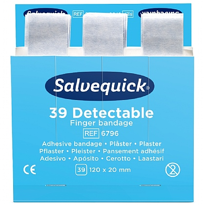 Salvequick Blue Detectable Finger Bandage Pack x 6